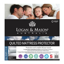 LOGAN AND MASON Quilted Mattress Protector QUEEN SIZE Premium brand NEW