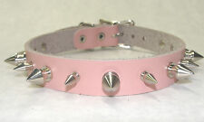 """Genuine Leather Choker w/ 1/2"""" and 5/8"""" Spikes.Adjust 13"""" to 15""""  Made in USA"""