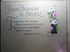 Vtg Art Deco DAVIS Happy Birthday FATHER Greeting Card w/Envelope UNUSED