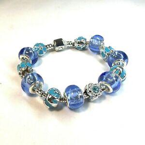 Violet and Blue Bead Charm Bracelet