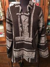 Boho Brown/White Stripe Woven Baja Poncho Rasta Surf Pullover Hoodie Jacket L