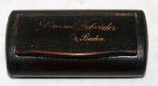 ANTIQUE SNUFF BOX  BLACK LACQUER PAPER PAPIER MACHE BADEN GERMANY