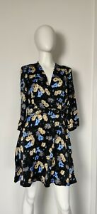 Zara Black Mix Floral Short Mini Flared Party Occasion Dress Dress Size Small