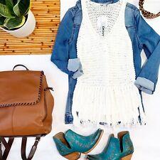 DKNY Womens Sweater Size XS White Open Chunky Knit Fringe Sleeveless Crochet