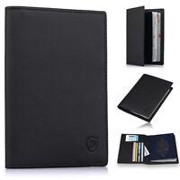 Men's Slim Leather Passport Holder Cover Case RFID Blocking Travel Wallet Black