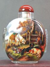 Eximious Chinese Many Animal Inside Hand Painted Glass Snuff Bottle:Gift Box