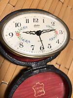 Vintage Linden Portable Travel Alarm Clock Leather Case FLORAL Face MADE Germany