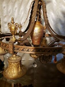 Art Deco Chandelier Durin Art Glass (6) Light Patent 1926 Gold Dore Finish