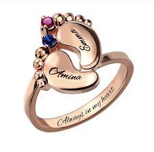Ring + Gravur + Monatsstein Rosegold vergoldet Geburt Kind Baby Name Geschenk