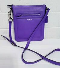 COACH SIGNATURE LEGACY SWINGPACK PURPLE LEATHER CROSSBODY PURSE HANDBAG