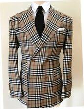 Super 150 Cerruti double breasted wool suit in classic Burberry print/wide peak