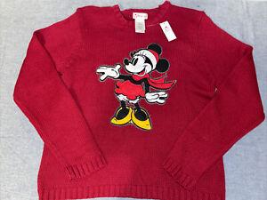 NWT Disney Minnie Sweater Women's XL Winter Christmas Red Mickey