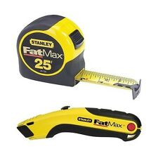 STANLEY 70-017D 1-1/4in x 25ft FatMax Tape Measure with Utility Knife Combo Pack