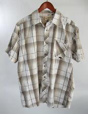 Costal Huntington Beach Brown Plaid Coconut Button Lounge Hawaiian Shirt sz L