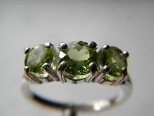 PERIDOT 3 GEMSTONE RING 1@ 6, 2@ 5mm Round1.75 tcw, Silver 925, size 6.75