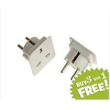 UK To Europe 2Pin Euro European Travel Adaptor Plug 2 Pin White