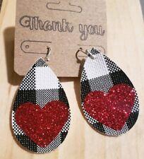 With Red Glitter Heart Earrings Handmade Faux Leather Black/white Plaid Teardrop