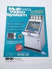 Original Flyer Snk Neo Geo MVS Borne Arcade MVS U4 Jamma Artset Chirashi