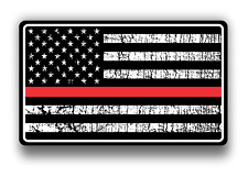 Thin Red Line US Flag Fire American Flag Support Sticker for car truck laptop