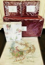 Pottery Barn Nostalgic Santa Queen Size Sheet Set Velvet Quilt Shams Christmas