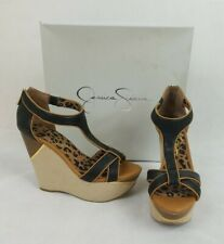 JESSICA SIMPSON Black Tan Leopard Leather Sandal Wedge Heels Size 7 M + Box