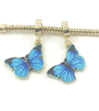 NEW 2pcs Gold Butterfly European Charm Spacer Beads Fit Necklace Bracelet HOT