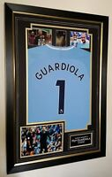 ** RARE Autographed Pep Guardiola Manchester Signed PHOTO and Shirt Display ***