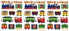 3 sheets Vintage Hallmark Build a Train Stickers! 1984 Engine Caboose