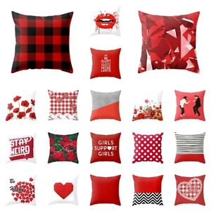 Pillow Case Red Plaid Floral Polyester Square Cushion Cover Standard Pillowcase