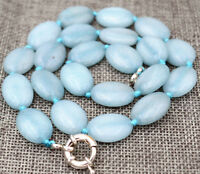 "New 13x18mm natural aquamarine Flat Oval Gemstone Beads Necklace 18 """