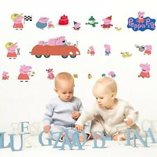 Large Cute Pink Peppa pig Wall decals Removable stickers kids art nursery decor