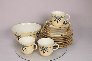 BEAUTIFUL VINTAGE TEA CUP SAUCER PLATE BOWL HAND PAINTED EGG SHELL CHINA GILDED