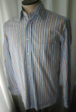DOLCE & GABBANA Blue & Orange Stripe Mens Dress Shirt 15.5