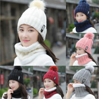 Women Thick Knit Wool Beanie Hat Scarf 2pcs Soft Pompom Snood Neck Winter Cap