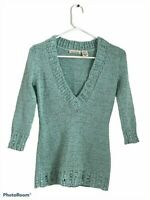 DKNY Jeans Womens Pullover Sweater Green Marled 3/4 Sleeve V Neck Ribbed S