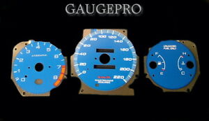 96-00 HONDA CIVIC EX BLUE CARBON FIBER GLOW GAUGES in Km/h