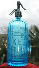 "Vintage ""KENDALL & ELLIOTT LIMITED, STAVELEY"" Cumbria Blue Glass Soda Syphon"