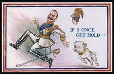Kaiser run from English Bulldog War dog ww1 Wwi original old c1915 postcard