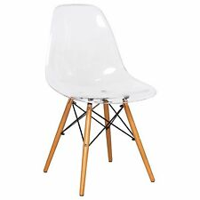 LeisureMod Dover Molded Dining Side Chair with Wooden Dowel Legs in Clear