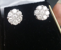 Steal Deal! 2.10ctw Genuine Cluster Round Diamond Stud Earring in 14K Gold 10MM