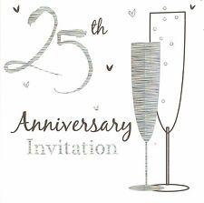 Anniversary invitation cards ebay 60 x silver wedding anniversary invitations cards 25th party invites stopboris Images