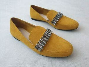 M&S Collection Mustard Yellow Suede Slip On Flat Shoes with Buckles UK Size 4