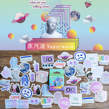 46 Pcs Cute Vaporwave Label Diary Adhesive Paper Flake Scrapbooking Sticker NEW!