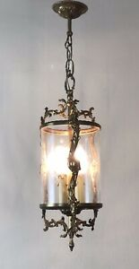 Vintage French Gilt Bronze Three Light Hall Lantern Pendant