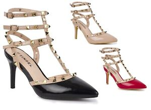 New Ladies Medium Low Heel Studded Strappy Pointed Fashion Party Dancing Sandals