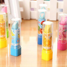 2pcs Cartoon Fruit Lipstick Erasers Students Stationery Kids Educational Toys