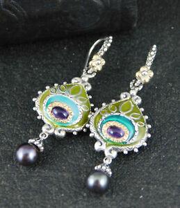 Barbara Bixby Sterling & 18K Amethyst & Enamel Peacock Feather Dangle Earrings