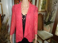 Travel Elements Super Cute Pink Lace  OPEN FRONT Jacket Size M   3/4 Sleeve
