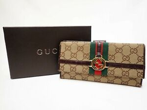 Authentic GUCCI Long Wallet GG Canvas Beige Brown Trufold