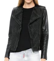 Woman Black Tonal Spiked Studded Leather Jacket Brando Unique Leather Jacket